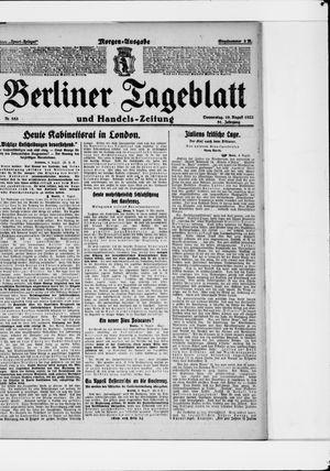 Berliner Tageblatt und Handels-Zeitung vom 10.08.1922