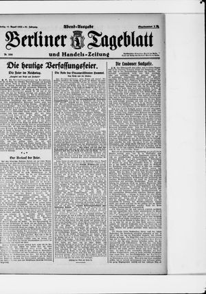 Berliner Tageblatt und Handels-Zeitung vom 11.08.1922