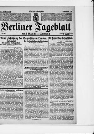 Berliner Tageblatt und Handels-Zeitung vom 13.08.1922