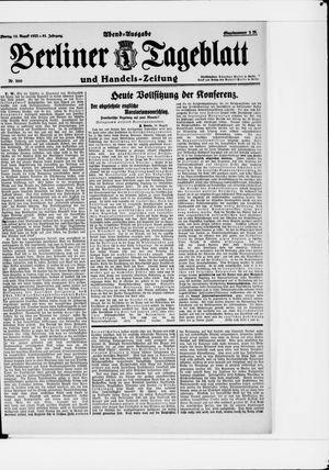 Berliner Tageblatt und Handels-Zeitung vom 14.08.1922