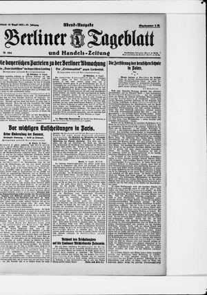 Berliner Tageblatt und Handels-Zeitung vom 16.08.1922