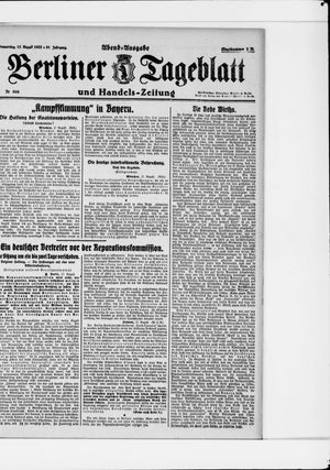 Berliner Tageblatt und Handels-Zeitung vom 17.08.1922