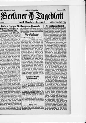 Berliner Tageblatt und Handels-Zeitung vom 30.08.1922