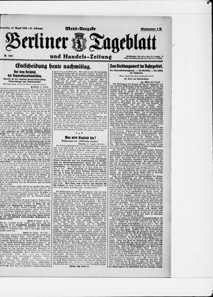 Berliner Tageblatt und Handels-Zeitung vom 31.08.1922