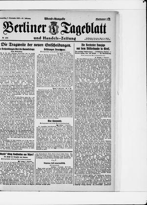 Berliner Tageblatt und Handels-Zeitung vom 07.09.1922