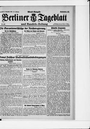 Berliner Tageblatt und Handels-Zeitung vom 09.09.1922