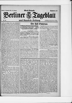 Berliner Tageblatt und Handels-Zeitung vom 11.09.1922