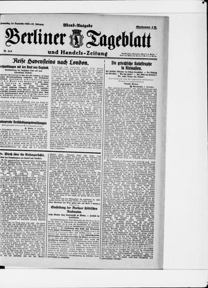 Berliner Tageblatt und Handels-Zeitung vom 14.09.1922