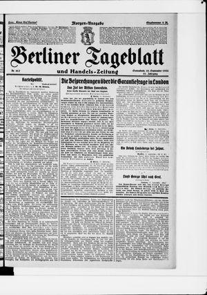 Berliner Tageblatt und Handels-Zeitung vom 16.09.1922