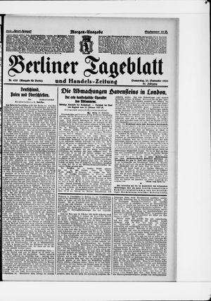 Berliner Tageblatt und Handels-Zeitung vom 21.09.1922