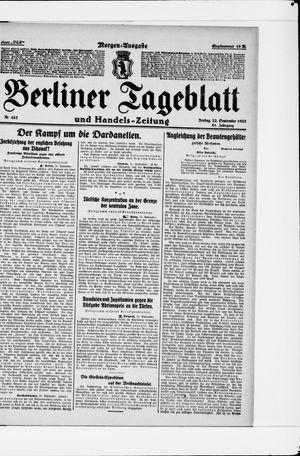 Berliner Tageblatt und Handels-Zeitung vom 22.09.1922