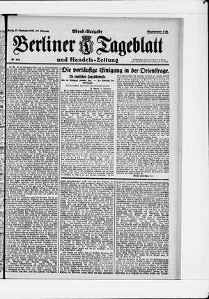 Berliner Tageblatt und Handels-Zeitung vom 25.09.1922