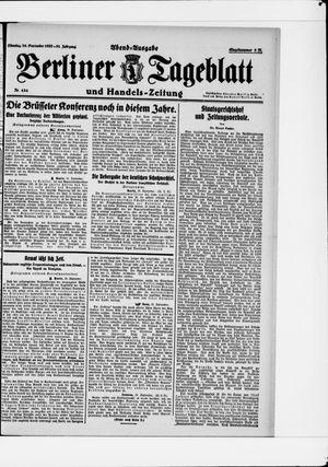 Berliner Tageblatt und Handels-Zeitung vom 26.09.1922