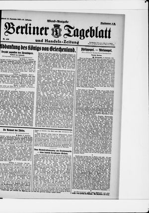 Berliner Tageblatt und Handels-Zeitung vom 27.09.1922