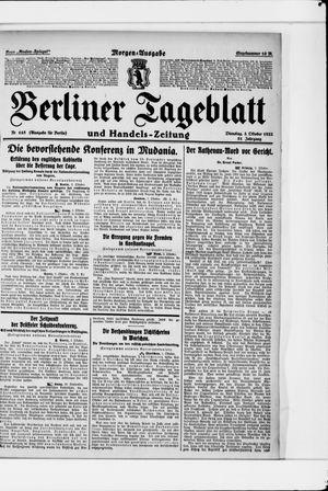 Berliner Tageblatt und Handels-Zeitung vom 03.10.1922