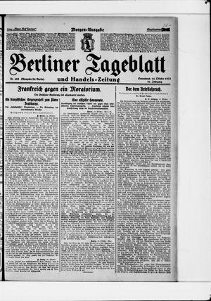 Berliner Tageblatt und Handels-Zeitung vom 14.10.1922