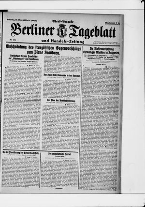 Berliner Tageblatt und Handels-Zeitung vom 19.10.1922