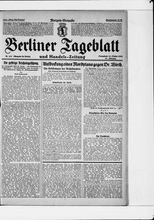 Berliner Tageblatt und Handels-Zeitung vom 21.10.1922