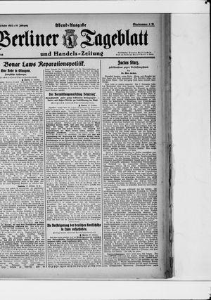 Berliner Tageblatt und Handels-Zeitung vom 27.10.1922