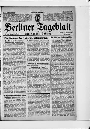 Berliner Tageblatt und Handels-Zeitung vom 07.11.1922