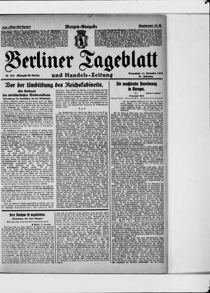 Berliner Tageblatt und Handels-Zeitung vom 11.11.1922