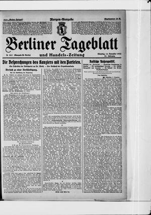 Berliner Tageblatt und Handels-Zeitung vom 14.11.1922