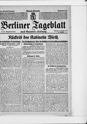 Berliner Tageblatt und Handels-Zeitung vom 15.11.1922