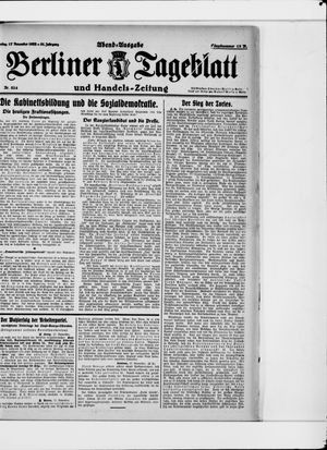 Berliner Tageblatt und Handels-Zeitung vom 17.11.1922