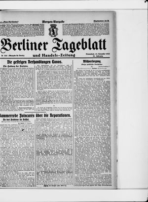 Berliner Tageblatt und Handels-Zeitung vom 18.11.1922