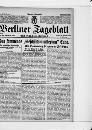 Berliner Tageblatt und Handels-Zeitung vom 21.11.1922