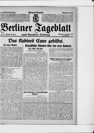 Berliner Tageblatt und Handels-Zeitung vom 22.11.1922
