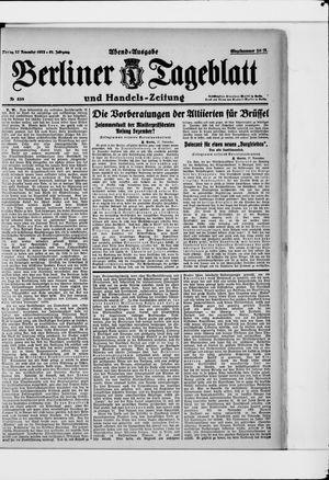 Berliner Tageblatt und Handels-Zeitung vom 27.11.1922