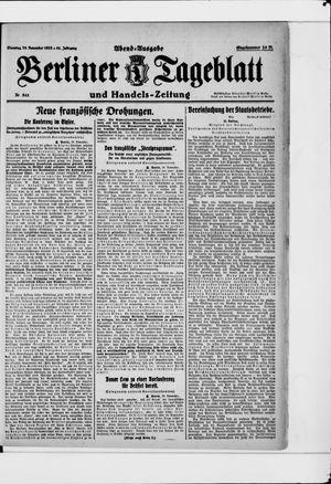 Berliner Tageblatt und Handels-Zeitung vom 28.11.1922