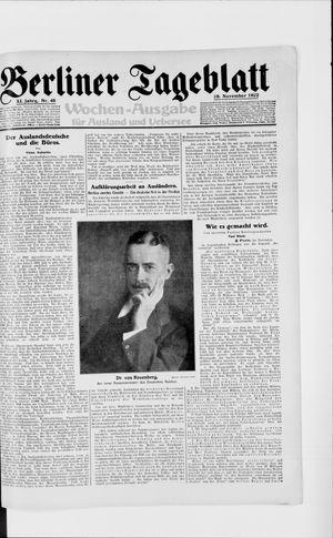 Berliner Tageblatt und Handels-Zeitung vom 29.11.1922