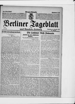 Berliner Tageblatt und Handels-Zeitung vom 30.11.1922