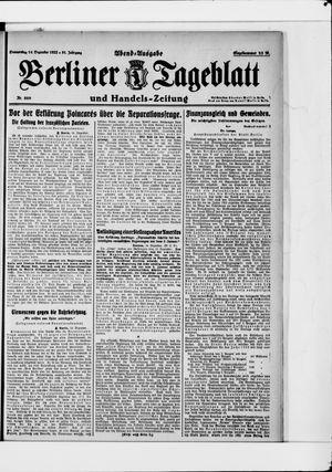 Berliner Tageblatt und Handels-Zeitung vom 14.12.1922