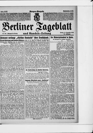 Berliner Tageblatt und Handels-Zeitung vom 22.12.1922