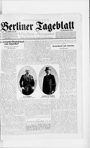 Berliner Tageblatt und Handels-Zeitung vom 27.12.1922