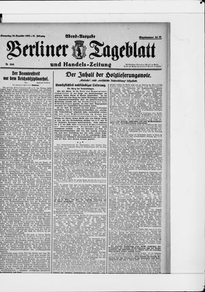 Berliner Tageblatt und Handels-Zeitung vom 28.12.1922