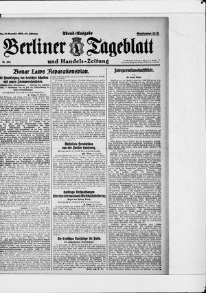 Berliner Tageblatt und Handels-Zeitung vom 29.12.1922