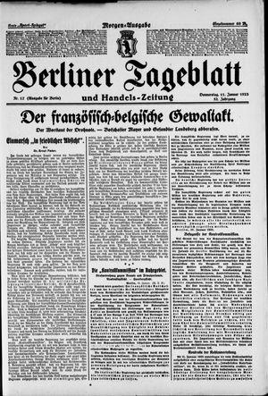 Berliner Tageblatt und Handels-Zeitung vom 11.01.1923