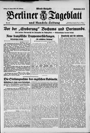 Berliner Tageblatt und Handels-Zeitung on Jan 12, 1923