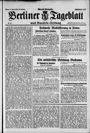 Berliner Tageblatt und Handels-Zeitung vom 15.01.1923