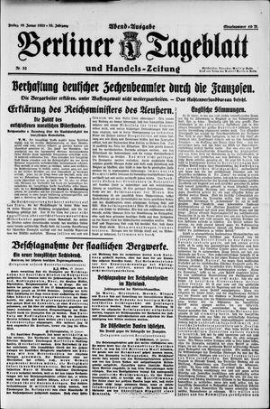 Berliner Tageblatt und Handels-Zeitung vom 19.01.1923