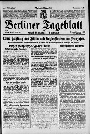 Berliner Tageblatt und Handels-Zeitung vom 21.01.1923