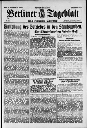 Berliner Tageblatt und Handels-Zeitung on Jan 22, 1923