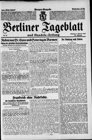 Berliner Tageblatt und Handels-Zeitung vom 06.02.1923