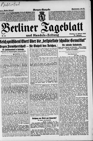 Berliner Tageblatt und Handels-Zeitung vom 13.02.1923