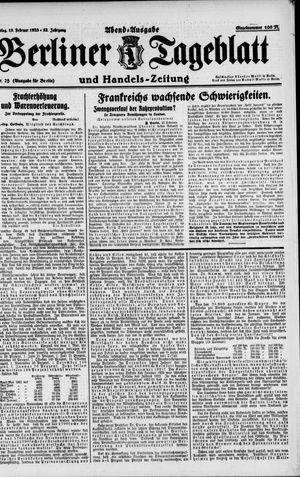 Berliner Tageblatt und Handels-Zeitung vom 15.02.1923