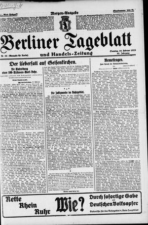 Berliner Tageblatt und Handels-Zeitung vom 18.02.1923